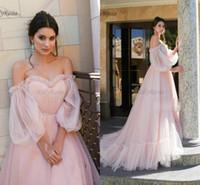 rosa flauschige plus size kleider großhandel-Tüll rosa prom kleider prinzessin flauschig aus der schulter laterne hülse romantische mädchen robe de gala kleid für prom plus größe