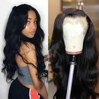 pelucas de cuerpo al por mayor-Celie Hair Lace Front Cable de alta temperatura Pelucas 13x4 Pre Plucked Lace Front Wig Con Body Wave brasileño peluca llena de encaje