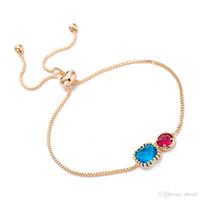 brazaletes de rubí de oro al por mayor-Joya de la gema Pulseras de las mujeres Sapphire Ruby Gold Thin Cadena Bangle Exquisito Joyería de alto grado Buenos regalos para Lady DC156