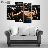 Wholesale bodybuilding paintings for sale - Group buy 4pcs Wall Art Poster Bodybuilding Exercise Fitness Sports Painting Canvas Printing Unframed Modular Pictures decorative pictures