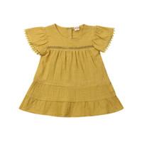 vestido amarelo casual para meninas venda por atacado-Bonita criança crianças menina verão vestidos plissado vestido de manga curta casual solto infantil roupas de menina amarelo vestido de verão