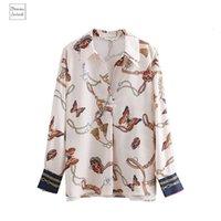 ingrosso roupas femininas blusas-Vintage supera le camicette di stampa della farfalla Kimono casual shirt Donna Chic Animale Autunno Stampa Blusas Roupas Femininas Donne Ls2669