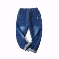 cinturones elásticos para niños al por mayor-Kids Boy Jeans Niños Pantalones Casuales Carta de dibujos animados Bordado Elástico Pantalón Piernas Cintura Cintura Elástica 6