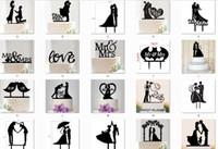 gelin damat süslemeleri toptan satış-Mr Mrs Düğün Dekorasyon c Akrilik Siyah Romantik Gelin Damat Kek Aksesuarları Düğün Parti Iyilik Için