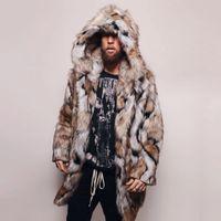 winterledermantel für männer groihandel-Fashion Men Lederjacke Winter warme Leopard starke mit Kapuze Mantel-Jacken-Pelz-Outwear Overcoat Chaqueta Moto Hombre