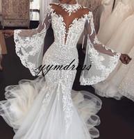 marfim peixe vestidos de noiva venda por atacado-Praia Sereia Vestidos De Casamento 2019 Alta Neck Sheer Manga Comprida Lace Apliques De Noiva Vestidos De Casamento Vestido De Novia