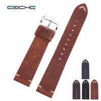 bracelets de montres en cuir vintage achat en gros de-Montre-bracelet en cuir de vachette en cuir de vachette bracelet en cuir de vachette vintage de différentes couleurs 18mm 20mm 22mm T190705