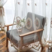 Wholesale korean home decor resale online - Korean Pastoral Flower Embroidery Tulle Curtain for Living Room Luxury Pink Embroidered Sheer Curtain For Wedding Home Decor
