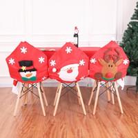 Silla de Navidad Decoración Decoración Covers viejo partido muñeco de nieve  Elk Comedor Asiento Santa Claus partido casero heces Set Decoración EEA768
