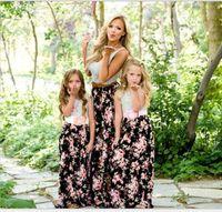 vestido floral madre al por mayor-Boutique Vestido para la madre y la hija Rayas Floral Tank Vestido maxi Vestidos para niñas Ropa para la madre y la hija Slim Cotton Beach Holiday