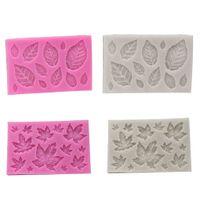 fondant de rosas al por mayor-Hoja Fondant Molde de silicona 3D Mini Rosa en forma de hojas DIY Pastel Molde Herramienta de decoración de magdalenas