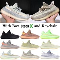 Wholesale womens white stockings resale online - Stock X Cloud White Citrin Reflective Kanye West Men Designer Shoes Black Static GID Womens Running Shoes Sport Sneaker With Box