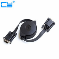 Wholesale male vga cable for projector resale online - M HD15Pin VGA D Sub male to male Retractable Cable for projectors Monitors