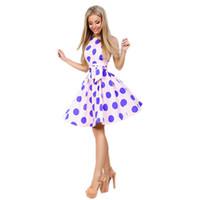 Wholesale pencil prom dresses resale online - Summer Women Sleeveless Dot Dress Casual Elegant Prom Print Fashion Ladies Dress Belt New Mini Vintage Female Vestidos