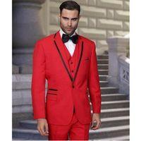 Wholesale red wedding groomsmen tuxedos resale online - Fashion Red Groom Tuxedos Notch Lapel Groomsmen Wedding Dress Excellent Man Jacket Blazer Piece Suit Jacket Pants Vest Tie