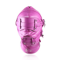 Wholesale blue dildos for sale - Group buy PU Hood Mask Contain with Anal Dildos Patch Adult Health Care Colors Sex Products for Couples