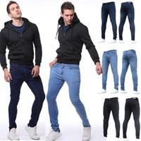 gilet zippé homme jeans achat en gros de-Nouveau Mode Hommes Casual Pantalon À Fermeture Éclair Pantalon Placket Poches Slim Long Jeans Pantalon Nouveau Poches Hommes Jeans Pantalon