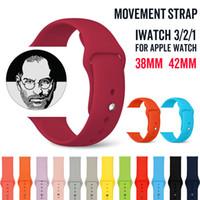 relojes bandas de colores al por mayor-Reemplazo de silicona suave colorido deporte banda para Apple Watch 4 3 2 1 banda correa de muñeca con adaptadores accesorios 40mm 44mm 42mm 38mm