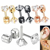 Wholesale tragus jewelry studs for sale - Group buy 1 piece Stainless Steel Screw Stud Earrings Unisex Hip hop Double Faces Cubic Zirconia Tragus Helix Piercings Ear Studs Jewelry