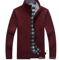 ingrosso collo del collo-Mens Fashion Designer Giacche in flanella ispessimento Zipper stand Collar collo a maniche lunghe Cappotti inverno caldo Gentlemen Coats