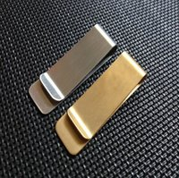 pirinç para toptan satış-Portable Stainless Steel Brass Money Clipper Slim Money Wallet Clip Clamp Metal Card Holder Credit Name Card Holder 15*50*0.8mm Hot Sale