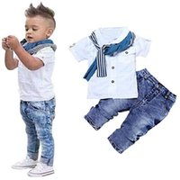Wholesale summer clothes for shirt jeans resale online - 3 piece sets for kids boys shirt sleeve denim jeans for boys Casual Short Sleeved Shirt Denim Jeans Pants Scarf Outfits Summer home clothing