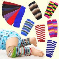baby kniestrümpfe für jungen großhandel-IN Baby-Beine-Wärmer-Socken Rainbow Color Gestreifte Knieschutz für Kinder Knit Fußwärmer Jungen-Mädchen-Winter-Bein-Wärmer Socken GGA2713