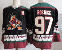 Wholesale Mens Arizona Coyotes JEREMY ROENICK Hockey Jerseys PHOENIX COYOTES s Black White Classic Vintage CCM Jersey Blank S XL