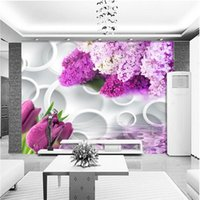 Wholesale tulip mould for sale - Group buy beibehang Personalized custom wallpaper d circle lavender tulip reflection TV backdrop papel de parede wallpaper for walls d