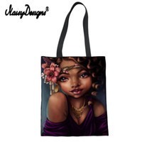 сумочки для печати оптовых-Noisydesigns Linen Canvas Women Tote Bag Bolsas Tela Eco Shoulder Shop Art Afro Lady Print Lady Beach Cotton Custom Bags