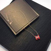 diseñador de matrícula al por mayor-Collar colgante de joyería de acero Carta de lujo del diseñador mujeres collar inoxidable H Nueva esmalte de la manera de los collares pendientes