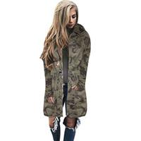 camisas de camuflaje del ejército al por mayor-2017 señoras de invierno Kimono cazadora cazadora cazadora rompevientos largo camuflaje del ejército chaquetas y abrigos para mujer sudaderas con capucha