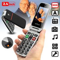 câmera de smartphone dual sim venda por atacado-Sênior Clamshell Virar Ancião Telefone Celular Bom e Velho Telefone Grande Botão Fácil Grande Bateria Alto-falante SOS Botão Lado