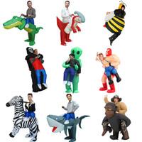 lustige erwachsene männer kostüme großhandel-Halloween Männer Frauen Erwachsene Kinder Lustig Entführt von Außerirdischen Cosply Kostüme Männlich Weiblich Kinder Party Maskottchen Kostüme Aufblasbare Kleidung
