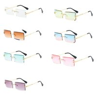 Wholesale small rectangle sunglasses for sale - Group buy New Frameless Cut Edge Square Sunglasses Fashion Men and Women Small Color Sun Glasses C6UD