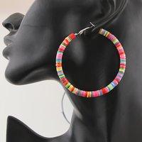 suministros de joyería bohemia al por mayor-1 par de pendientes de aro redondos étnicos bohemios coloridos grandes círculos colgantes pendientes de joyería femenina suministros de regalo de fiesta