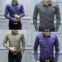 Wholesale gold painted for sale - Group buy NEW Fashion Designer Slim Fit Shirts Men Black Gold Floral Print Mens Dress Shirts Long Sleeved Business Casual Shirts Males Clothes