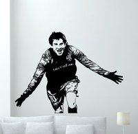futbol çıkartmaları toptan satış-Lionel Messi Çıkartması Ünlü Insanlar Duvar Sticker Futbol Futbolcu Duvar Sanatı Dekor Messi Vinil Sanat Mural