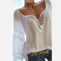 Lace Womens Long Sleeve Shirt Top Patchwork White Feminine Blouse Plus Size 5XL 2019 Summer Streetwear Shirts Sexy Blouses Women