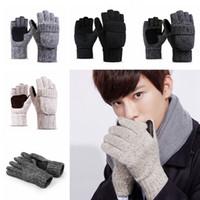 Wholesale knit gloves resale online - Fashion Knitted Fingerless Gloves Wool Winter Warm Glove Women And Men Plush Velvet Outdoor Riding Ski Mittens TTA1991