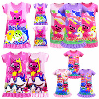 Wholesale 11styles Girls Baby Shark Dress Pajamas Lovely Cartoon Shark Short Sleeve Pajamas Dress Baby Summer Skirt Clothes FFA1640