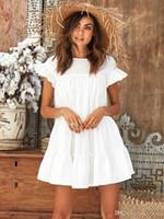 plage jaune courte achat en gros de-Mode Casual Womens Ladies Dresses Robes Mini robe d'été à manches courtes Sweet Loose Beach Robe d'été Rouge Blanc Jaune