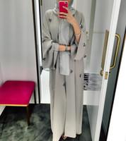 hijab de moda islámica al por mayor-2019 moda Dubai bordado a mano musulmán islámico cardigan túnica kaftan vestido con velo hijab Ramadán oferta especial