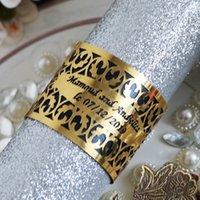 servilletas de papel de boda al por mayor-Papel diseño adaptable del boda Buckless Anillo de servilleta servilleta hebillas metálico hueco cortado con láser decoración de la tabla formal de la cena de negocios