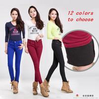 ingrosso jeans color invernali-2017 Autunno Inverno Jeans per le donne Skinny matita stile caldo molti jeans colorati più cashmere