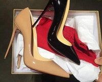 seksi topuklu pompalar toptan satış-2019 SıCAK Kadın Ayakkabı Kırmızı Dipleri Yüksek Topuklu Seksi Sivri Burun Kırmızı Taban 8 cm 10 cm 12 cm Logo toz Çanta Ile Gel ...