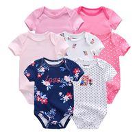 Wholesale newborn baby boy bodysuits for sale - Group buy 7 spring summer Baby Bodysuits Cotton short sleeve print bodysuit Newborn baby boy clothing set