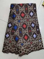 vestidos de red suave al por mayor-flor 3d tela africana material suave tela de tul cordón neto tela del bordado con piedras de perlas para vestidos de novia bf0052