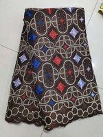 net material blume großhandel-Weiches Material Tüll Nettospitzegewebe Stickerei 3d Blume Afrikanisches Spitzegewebe mit Perlen Steine für Brautkleider bf0052