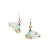 pendientes de ala de hadas al por mayor-925 Silver Hook Forest System Fairy Tulle Butterfly Wings Flower Colgante Mujer Pendientes largos de borla
